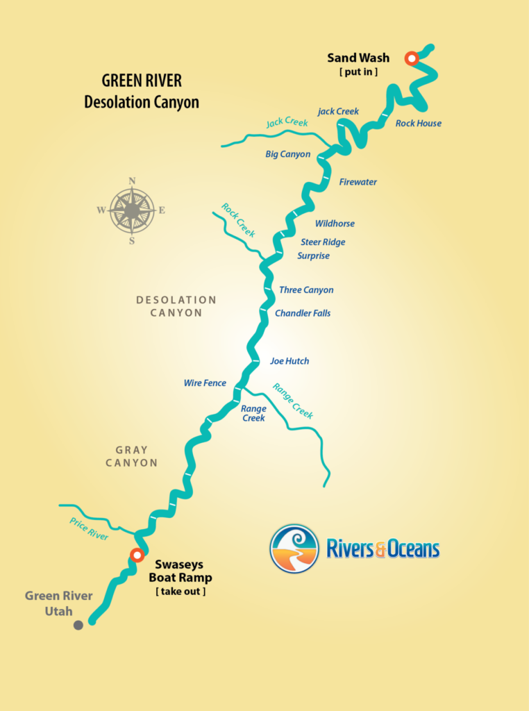 Rafting Map of Desolation Canyon on the Green River