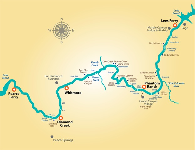 Colorado River Rafting Map with details