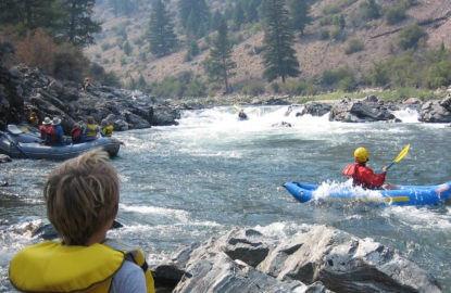 rafters running rapid on a middle-fork-salmon-river rafting trip